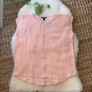 Blush pink silky sleeveless blouse